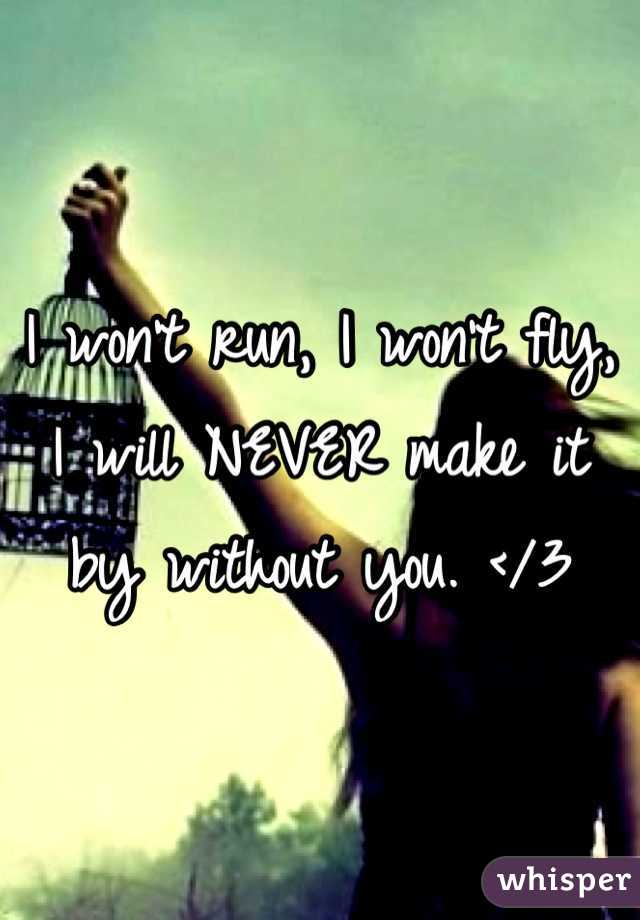 I won't run, I won't fly, I will NEVER make it by without you. </3