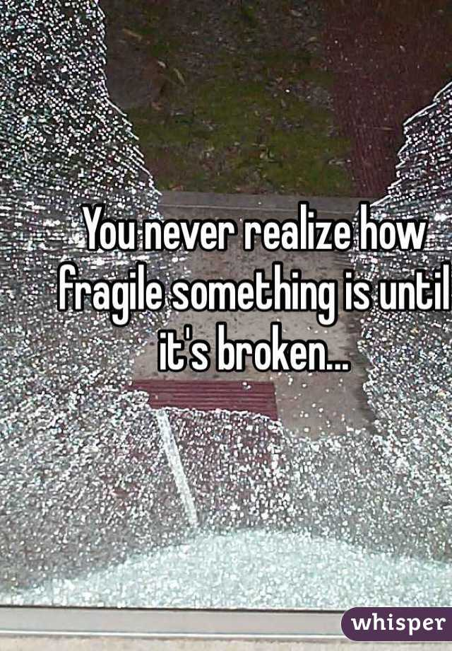 You never realize how fragile something is until it's broken...