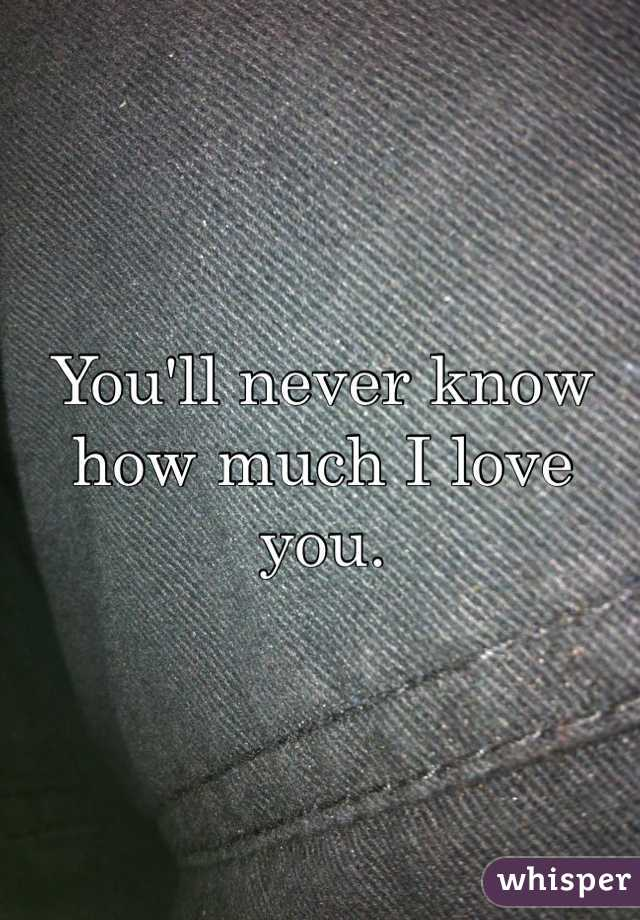 You'll never know how much I love you.