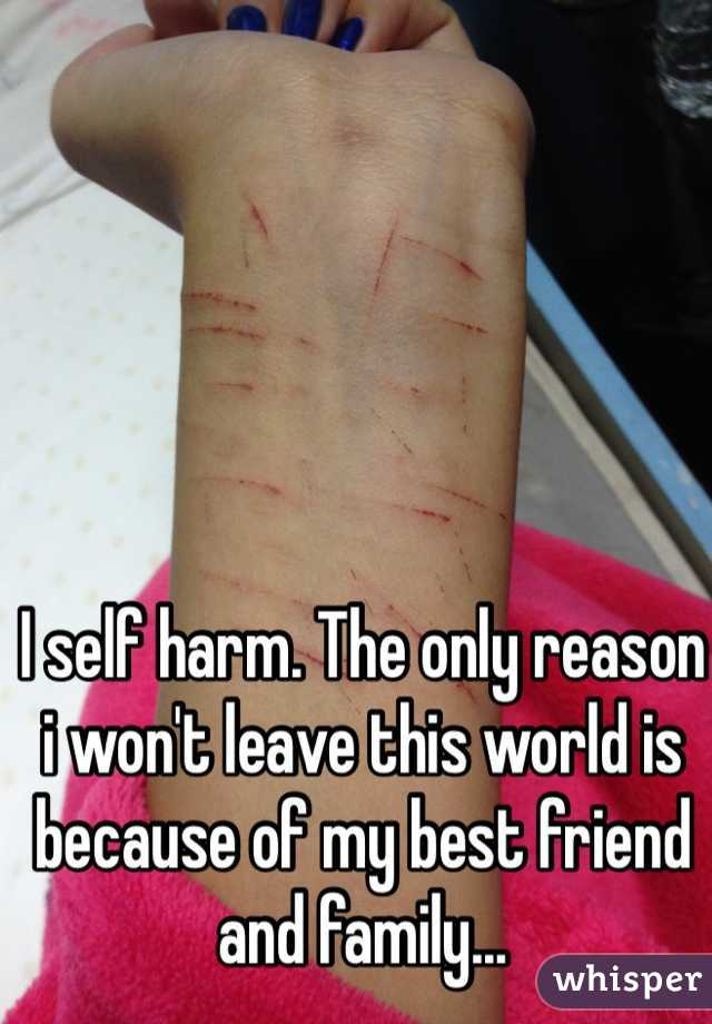 I self harm. The only reason i won't leave this world is because of my best friend and family...