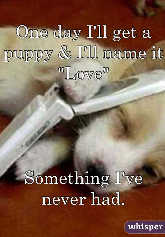 """One day I'll get a puppy & I'll name it """"Love""""      Something I've never had."""
