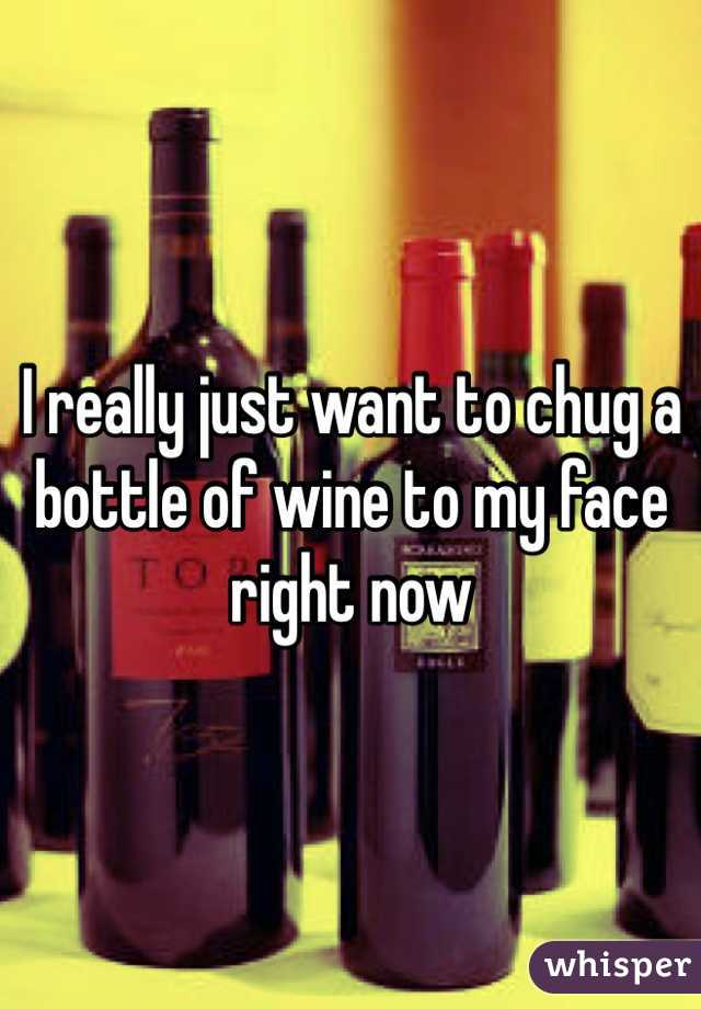 I really just want to chug a bottle of wine to my face right now