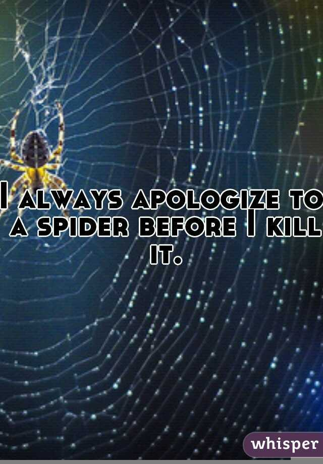 I always apologize to a spider before I kill it.