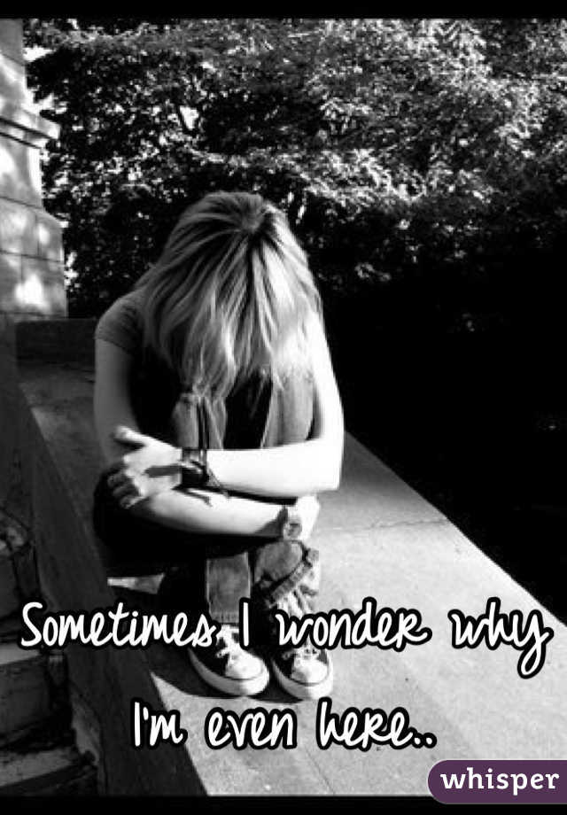 Sometimes I wonder why I'm even here..