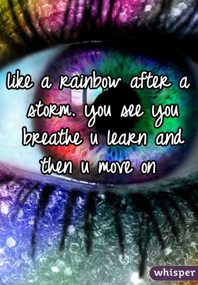 like a rainbow after a storm. you see you breathe u learn and then u move on