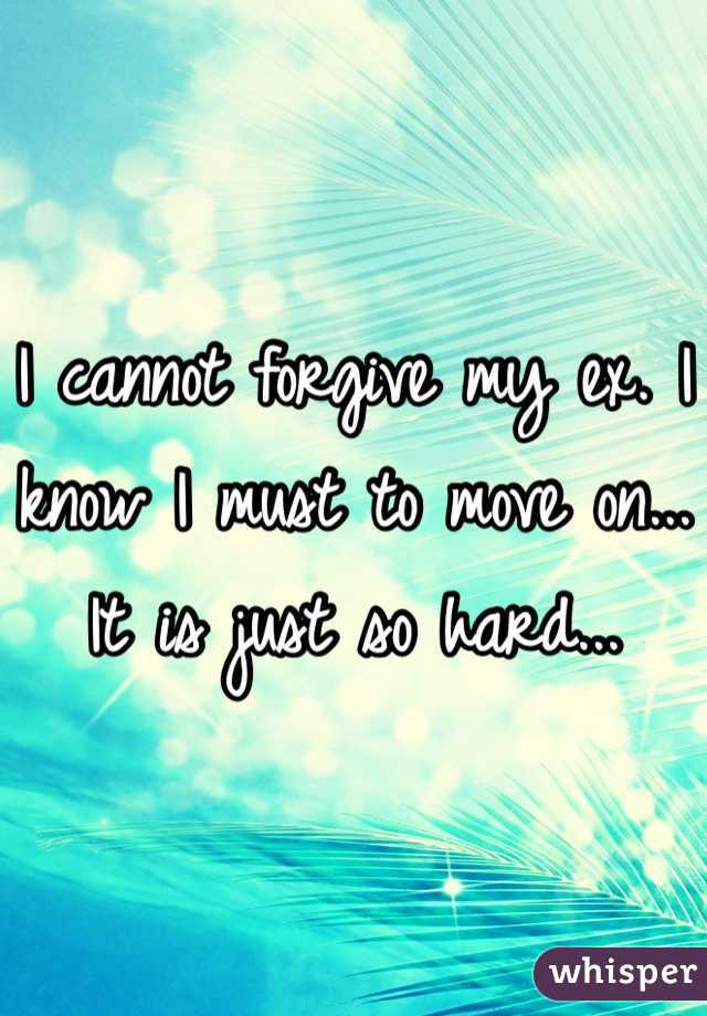 I cannot forgive my ex. I know I must to move on... It is just so hard...