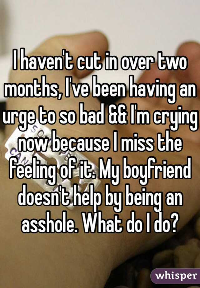 I haven't cut in over two months, I've been having an urge to so bad && I'm crying now because I miss the feeling of it. My boyfriend doesn't help by being an asshole. What do I do?