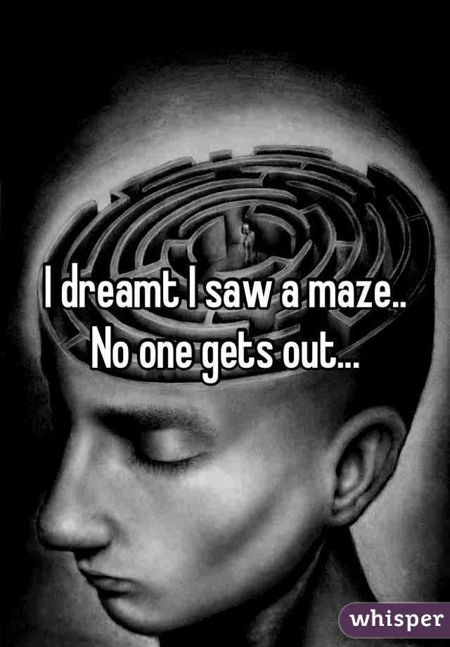 I dreamt I saw a maze.. No one gets out...
