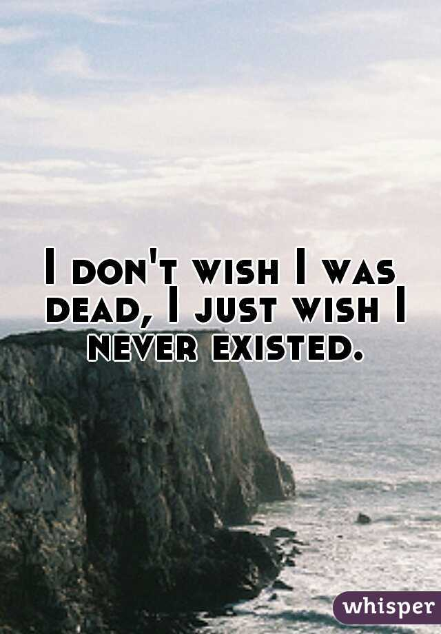 I don't wish I was dead, I just wish I never existed.