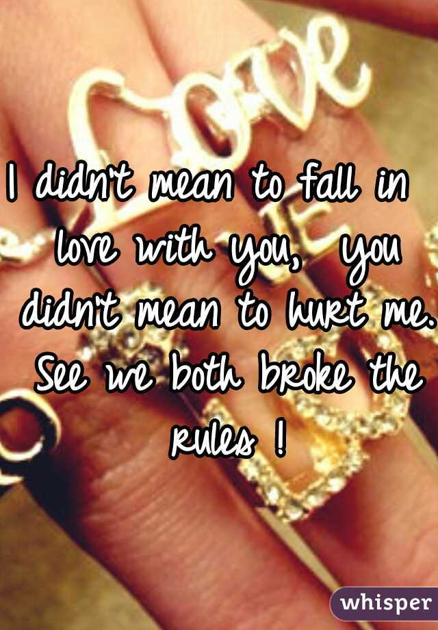 I didn't mean to fall in  love with you,  you didn't mean to hurt me. See we both broke the rules !