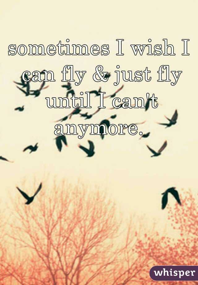 sometimes I wish I can fly & just fly until I can't anymore.