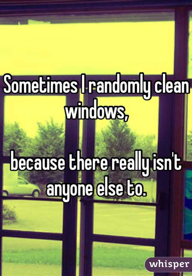 Sometimes I randomly clean windows,   because there really isn't anyone else to.