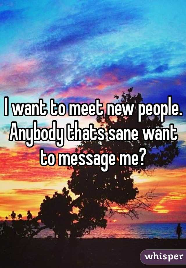 I want to meet new people. Anybody thats sane want to message me?