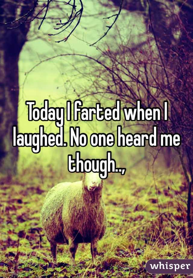 Today I farted when I laughed. No one heard me though..,