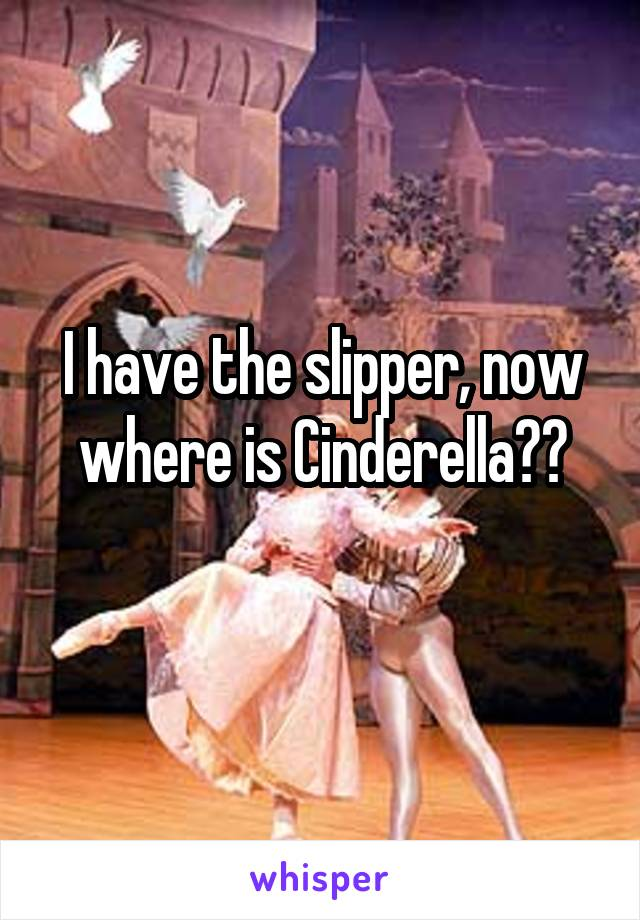 I have the slipper, now where is Cinderella??