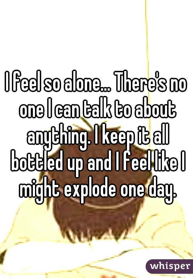I feel so alone... There's no one I can talk to about anything. I keep it all bottled up and I feel like I might explode one day.