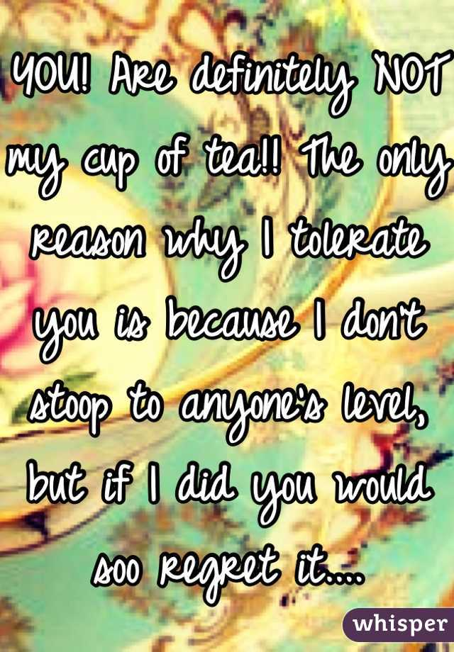 YOU! Are definitely NOT my cup of tea!! The only reason why I tolerate you is because I don't stoop to anyone's level, but if I did you would soo regret it....