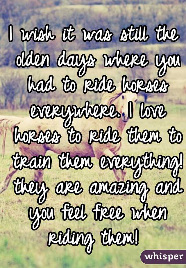 I wish it was still the olden days where you had to ride horses everywhere. I love horses to ride them to train them everything! they are amazing and you feel free when riding them!