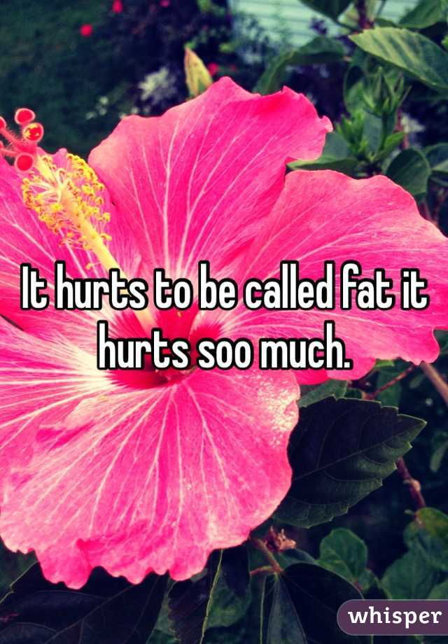 It hurts to be called fat it hurts soo much.
