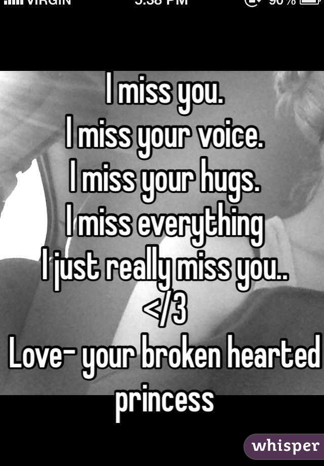 I miss you.  I miss your voice. I miss your hugs. I miss everything  I just really miss you.. </3  Love- your broken hearted princess