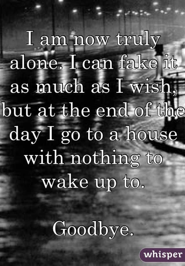 I am now truly alone. I can fake it as much as I wish, but at the end of the day I go to a house with nothing to wake up to.   Goodbye.