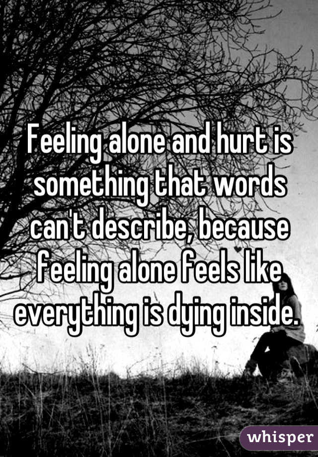 Feeling alone and hurt is something that words can't describe, because feeling alone feels like everything is dying inside.