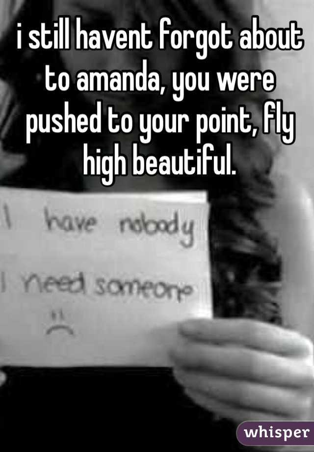 i still havent forgot about to amanda, you were pushed to your point, fly high beautiful.