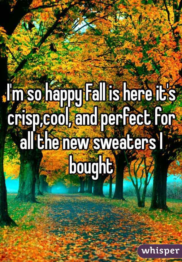 I'm so happy Fall is here it's crisp,cool, and perfect for all the new sweaters I bought