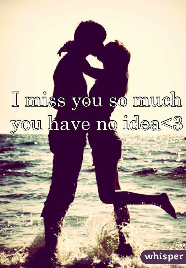 I miss you so much you have no idea<3