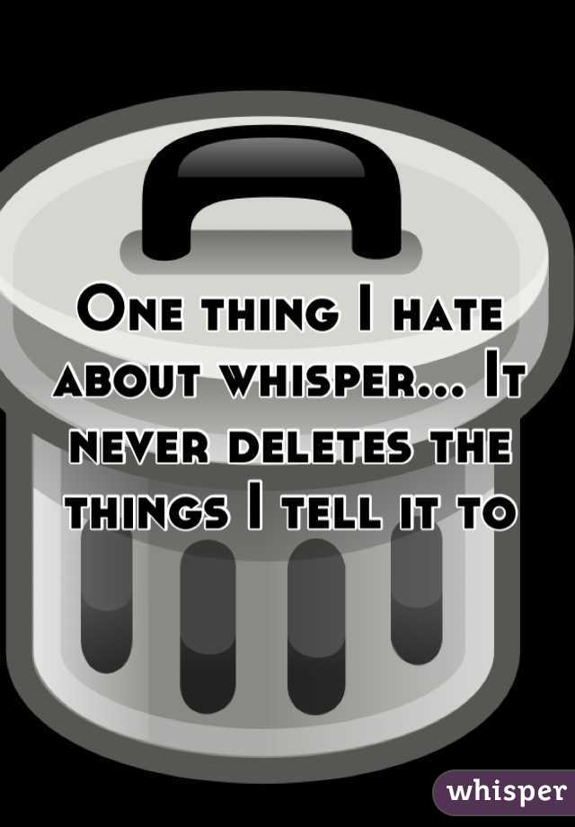 One thing I hate about whisper... It never deletes the things I tell it to