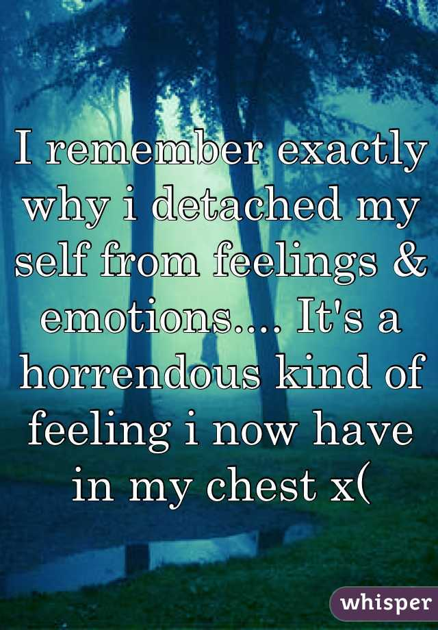 I remember exactly why i detached my self from feelings & emotions.... It's a horrendous kind of feeling i now have in my chest x(