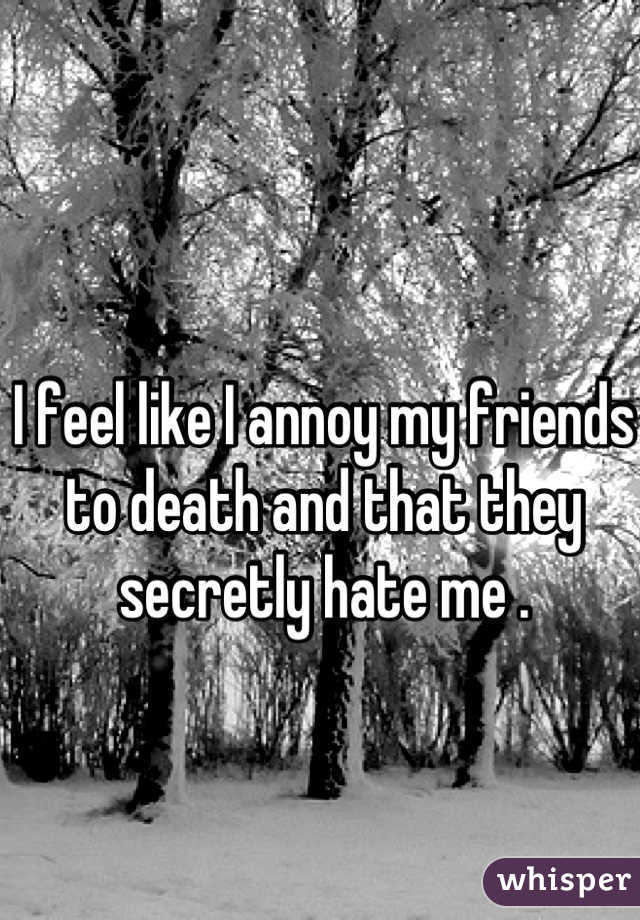 I feel like I annoy my friends to death and that they secretly hate me .