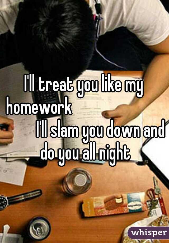 I'll treat you like my homework               I'll slam you down and do you all night