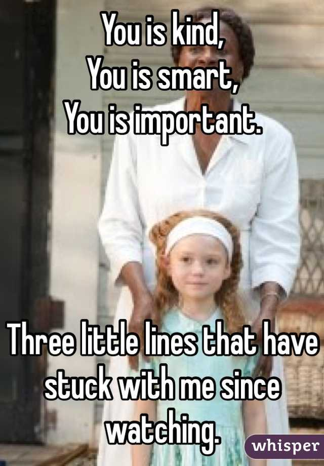 You is kind,  You is smart,  You is important.      Three little lines that have stuck with me since watching.