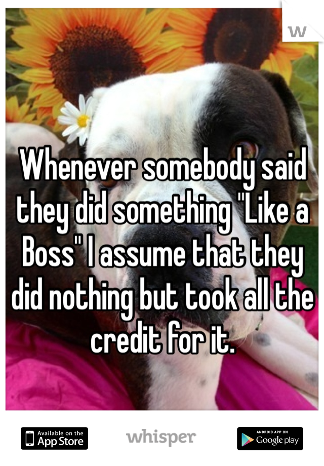 """Whenever somebody said they did something """"Like a Boss"""" I assume that they did nothing but took all the credit for it."""