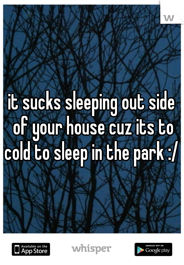 it sucks sleeping out side of your house cuz its to cold to sleep in the park :/