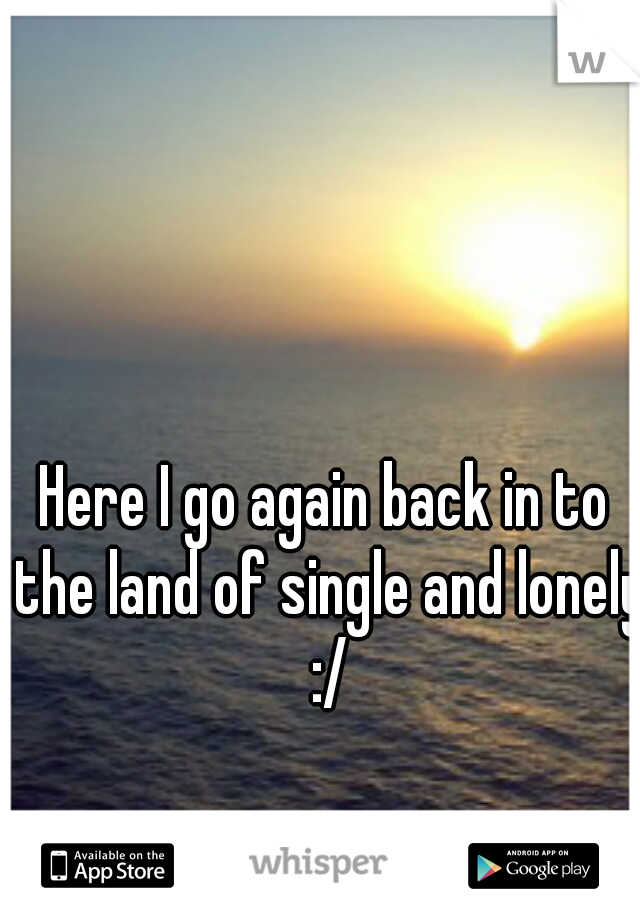 Here I go again back in to the land of single and lonely :/