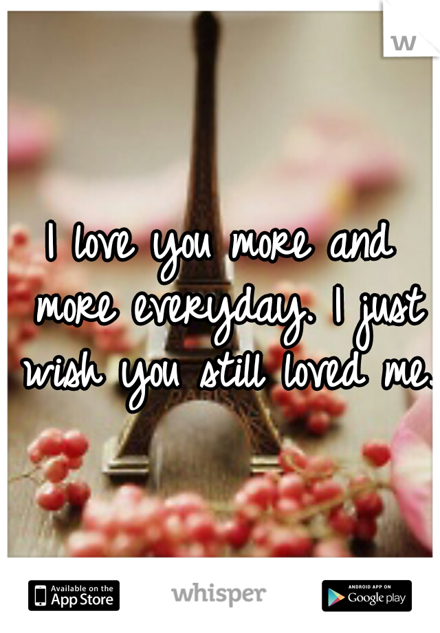 I love you more and more everyday. I just wish you still loved me.