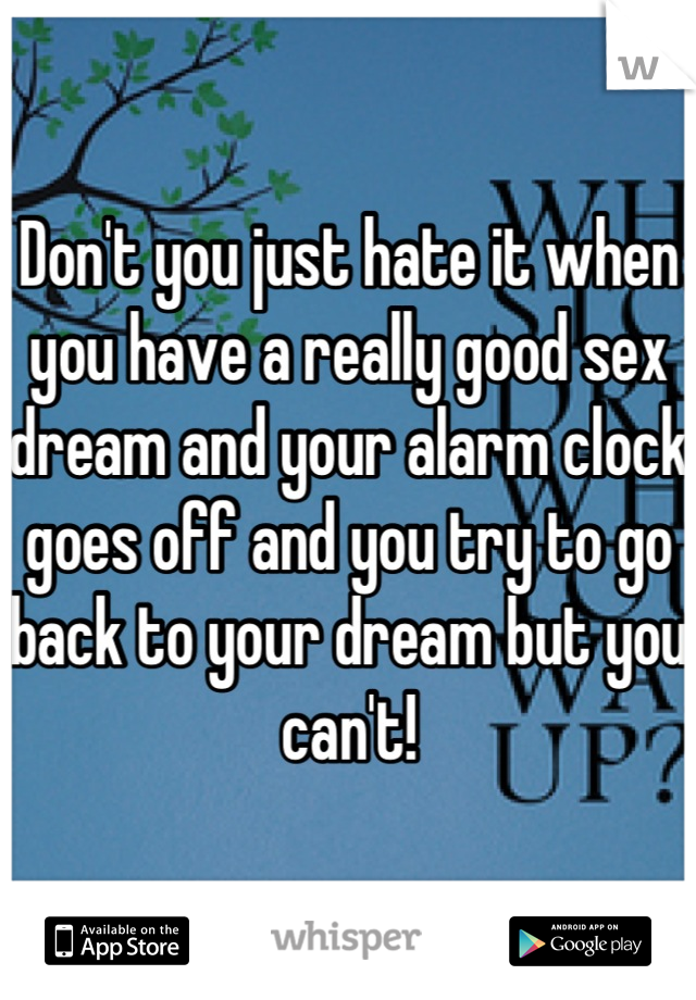 Don't you just hate it when you have a really good sex dream and your alarm clock goes off and you try to go back to your dream but you can't!