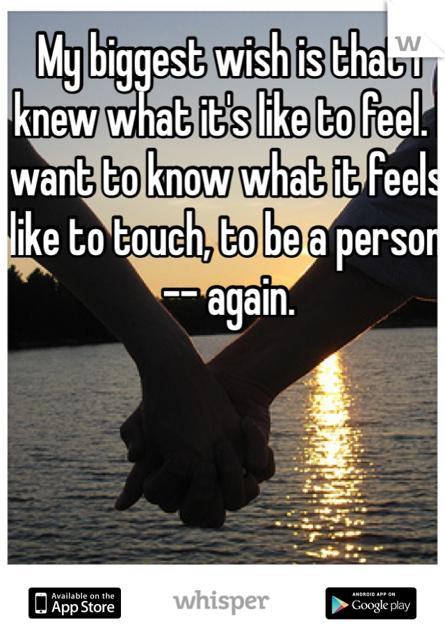 My biggest wish is that I knew what it's like to feel. I want to know what it feels like to touch, to be a person -- again.