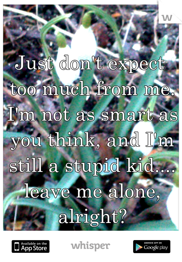 Just don't expect too much from me. I'm not as smart as you think, and I'm still a stupid kid.... leave me alone, alright?