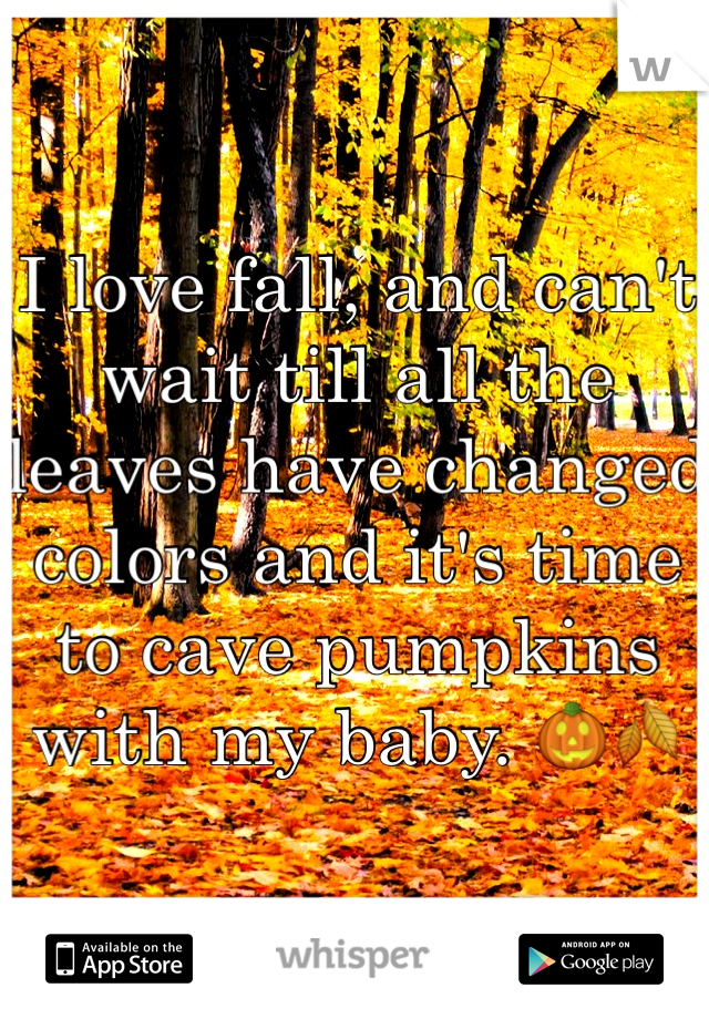 I love fall, and can't wait till all the leaves have changed colors and it's time to cave pumpkins with my baby. 🎃🍂