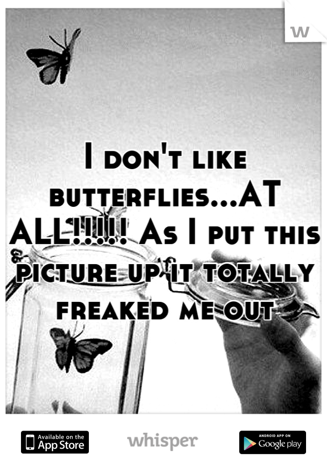 I don't like butterflies...AT ALL!!!!! As I put this picture up it totally freaked me out