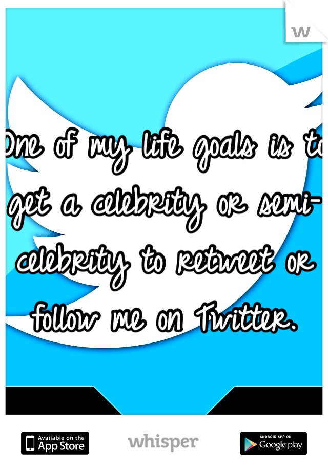 One of my life goals is to get a celebrity or semi-celebrity to retweet or follow me on Twitter.
