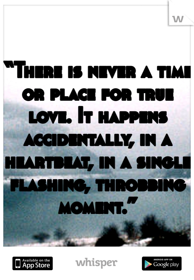 """""""There is never a time or place for true love. It happens accidentally, in a heartbeat, in a single flashing, throbbing moment."""""""