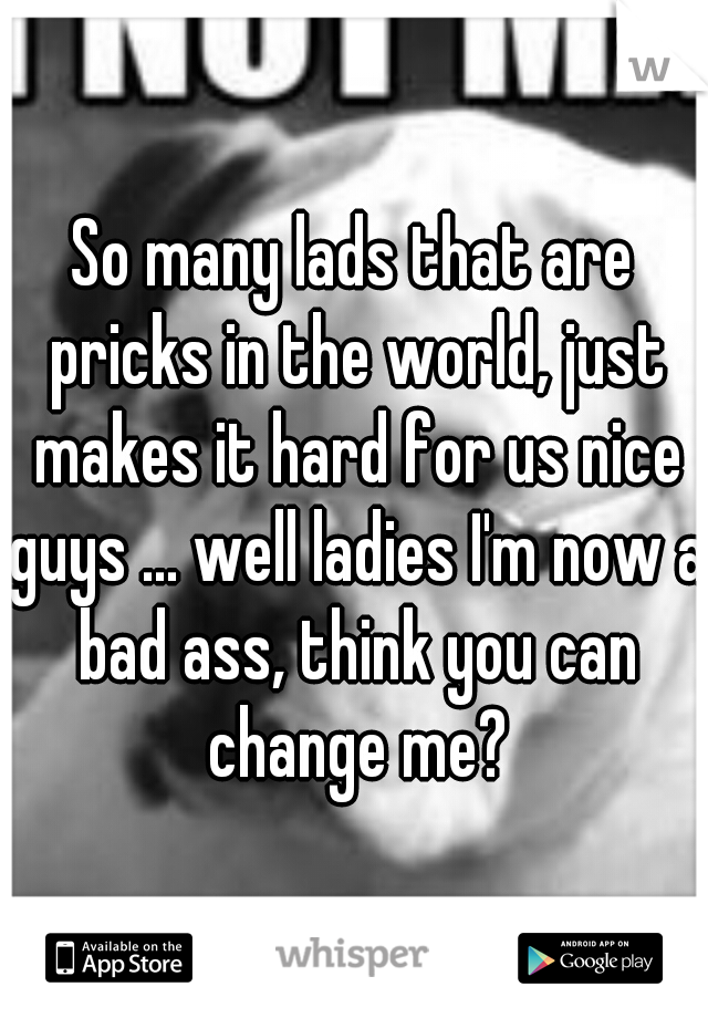 So many lads that are pricks in the world, just makes it hard for us nice guys ... well ladies I'm now a bad ass, think you can change me?