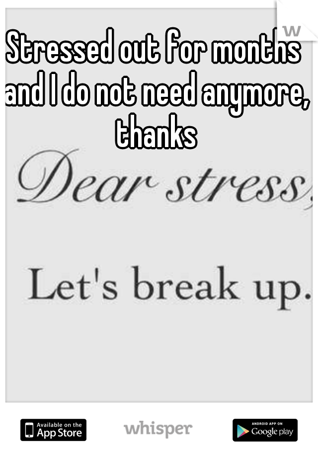 Stressed out for months and I do not need anymore, thanks