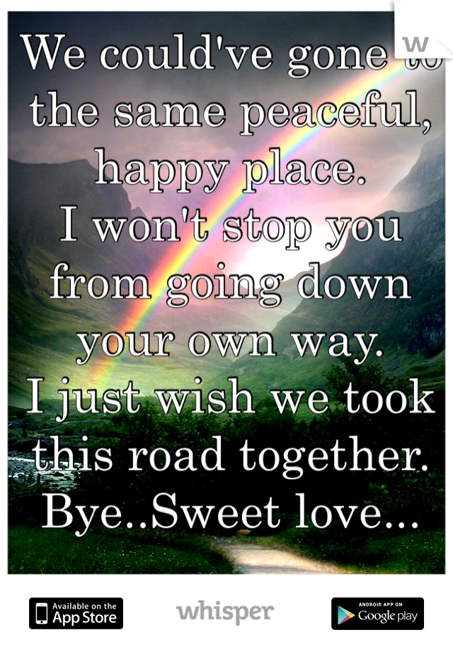 We could've gone to the same peaceful, happy place. I won't stop you from going down your own way. I just wish we took this road together. Bye..Sweet love...