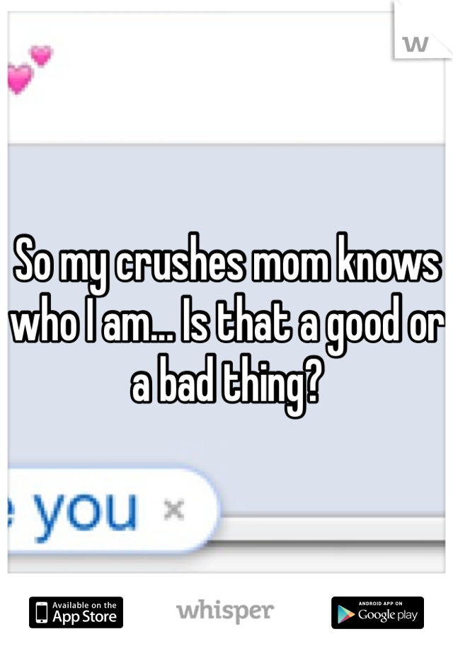 So my crushes mom knows who I am... Is that a good or a bad thing?