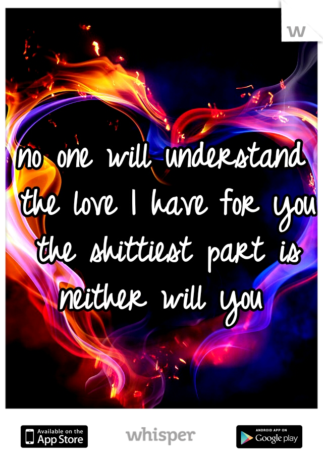 no one will understand the love I have for you the shittiest part is neither will you